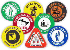 Array of colorful static cling decals with serial numbers and business logo in a variety different shapes, sizes, and formats.
