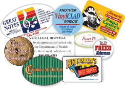 Array of colorful stickers with serial numbers and business logo in a variety different shapes, sizes, and formats.